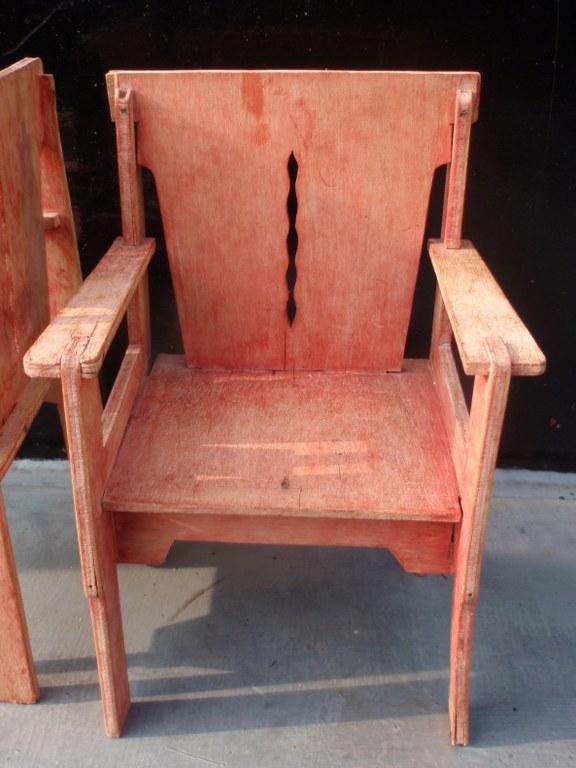 Vintage Dutch modernist dolls chairs
