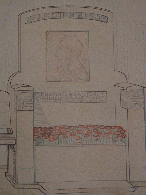Design Tjipke Visser for monumental bench 1929