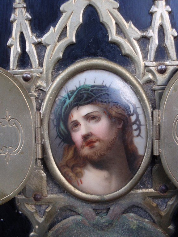 Small religious holy water font with hand painted portrait