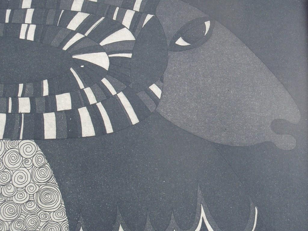 Fifties etching 'Ram' by Martine Vandenberghe