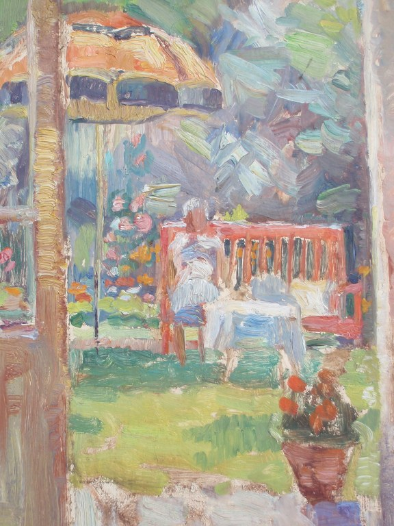 Oilpainting lady in summer garden by Andries Olthoff