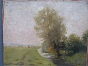 Landscape with cows by Dievenbach 1896-1