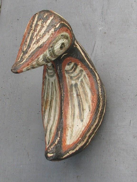 Vogelplastiek met beweegbare kop door Jan van Stolk