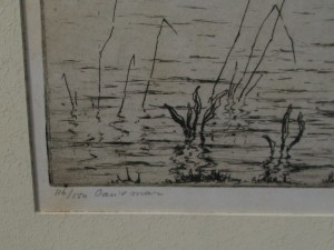 Etching with view on Grou by Johan Hemkes 1934-2