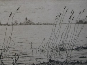Etching with view on Grou by Johan Hemkes 1934-4