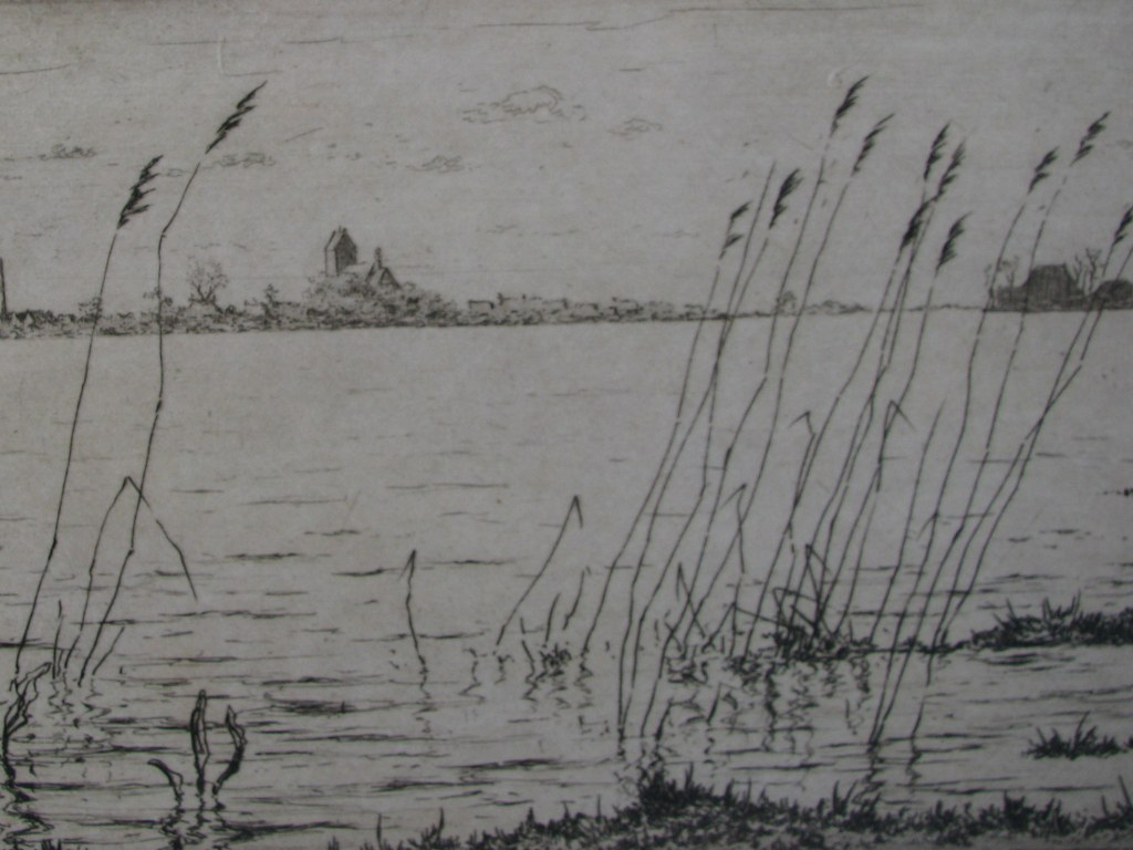 Etching with view on Grou by Johan Hemkes 1934