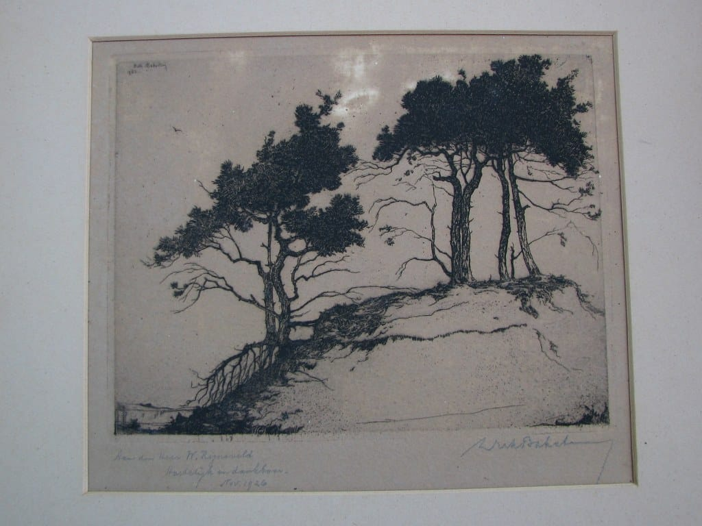 Etching Trees on a sand hill by Dirk Baksteen 1923