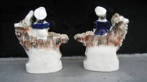 Pair of Staffordshire figurines of girls on he-goats -2