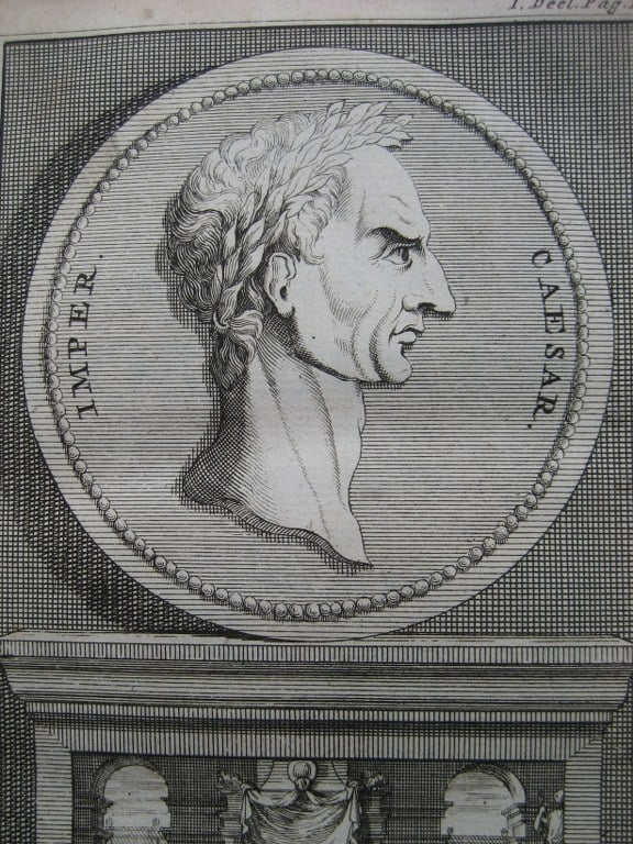 Aantekeningen der Gallische, Burgerlyke, Alexandrynsche, Africaansche, en Hispanische oorlogen door Julius Ceasar 1709