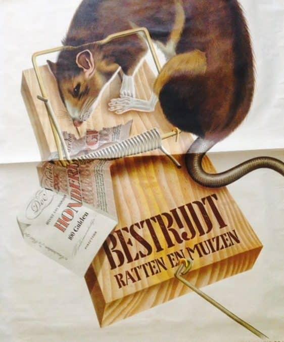 POSTER 'BESTRIJDT RATTEN EN MUIZEN' BY C VAN VELSEN