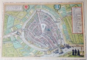 Chart of the Dutch city Gouda by Braun en Hogenberg 1585-2