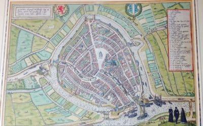 CHART OF THE DUTCH CITY GOUDA BY BRAUN & HOGENBERG 1585