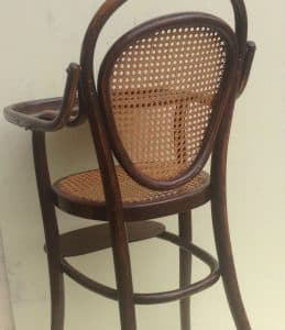 Thonet child's high table chair with meshwork in seat and back-3